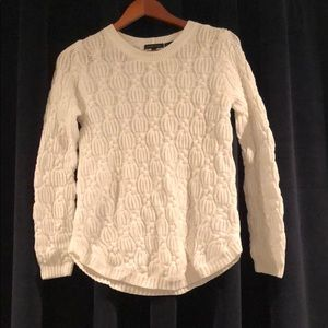 Jeanne Pierre White Cable Knit Sweater S